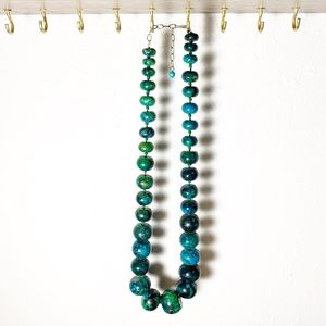 Chunky Blue Green Beaded Stone Necklace